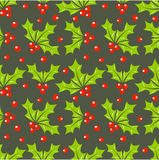 Holly berry pattern. Christmas holly berry seamless pattern. Vector illustration Royalty Free Stock Image