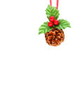 Holly berry and pine cone Royalty Free Stock Photography