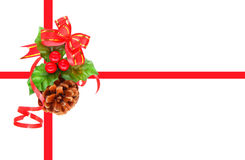 Holly berry and pine cone Stock Photo