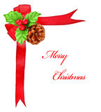 Holly berry and red bow ribbon, Christmas border Stock Image