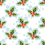 Holly berry seamless pattern. Holly berry silhouettes on a white background. Seamless pattern Royalty Free Stock Photography