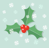 Holly berry and snow. Winter holly berry leaves in snow background. Vector illustration stock illustration