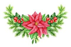 Holly Berry, stella di Natale rossa e confine dei brunch del pino Illustrazione dell'acquerello Fotografie Stock Libere da Diritti