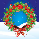 Holly berry wreath Stock Photography