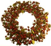 Holly Berry Wreath Isolated Royalty Free Stock Photos