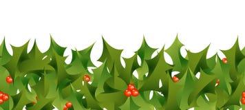 Holly Border. A horizontally repeatable border depicting a Christmas holly pattern Stock Photos