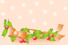 Holly, bow and ribbon Royalty Free Stock Images