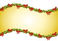 Holly Bows Swoosh Background. A background illustration featuring a swoosh design decorated with holly leaves, berries and Christmas bows Stock Image