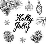 Holly Byczy! Ręka rysujący graficzny literowanie i elementy Obrazy Royalty Free