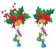 Holly and candy. Illustration of a holly and candy Royalty Free Stock Images