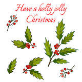 Holly Christmas Background Images libres de droits