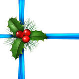 Holly With Christmas Blue Ribbon Stock Image
