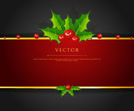 Holly christmas branch back Royalty Free Stock Photo