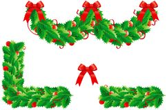 Holly  christmas decoration. Vector set of garland and  two frames elements   for holly christmas decoration Stock Photos