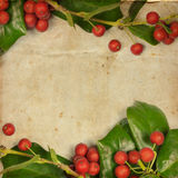 Holly Christmas Retro Card Stock Image