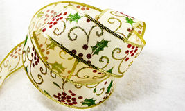 Holly Christmas ribbon Royalty Free Stock Photos