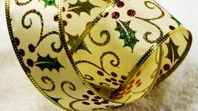 Holly Christmas ribbon Royalty Free Stock Photos