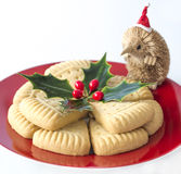Holly, Christmas Shortbread with Santa. Royalty Free Stock Photography