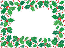 Holly Christmas symbol rectangle frame Royalty Free Stock Images