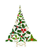 Holly Christmas tree Stock Photography
