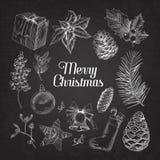 Holly Christmas Vintage Doodle Chalkboard vector illustratie
