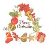 Holly Christmas Vintage Greeting Card Nieuwe jaarhand getrokken decoratie Royalty-vrije Stock Afbeelding