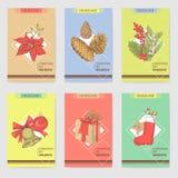 Holly Christmas Vintage Greeting Cards mallar Royaltyfri Foto