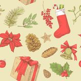 Holly Christmas Vintage Seamless Pattern Stock Foto's