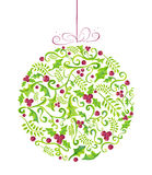 Holly Christmas watercolor bauble greeting card Royalty Free Stock Photo
