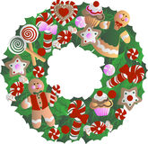 Holly Christmas wreath Stock Images