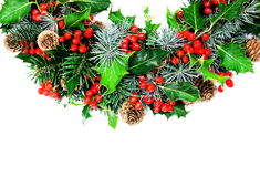 Holly Christmas wreath horizontal Royalty Free Stock Images