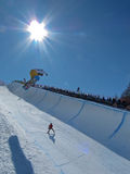 Holly Crawford AUS Half Pipe. Race World Cup snowboard Half Pipe in Valmalenco Italy Royalty Free Stock Image