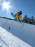 Holly Crawford AUS Half Pipe. Race World Cup snowboard Half Pipe in Valmalenco Italy Stock Image