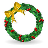 Holly crown with golden bow Stock Photo