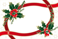 Holly decoration  on white Royalty Free Stock Photo