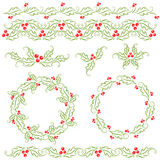 Holly decorative elements Royalty Free Stock Photography