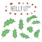 Holly Element Set Stock Photos