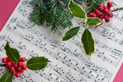 Holly And The Fir Tree. Holly berries, fir and sheet music depicting Christmas Royalty Free Stock Photo