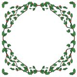 Holly frame. Vector holiday border of holly Stock Photography