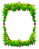 Holly Frame Isolated on White Stock Images