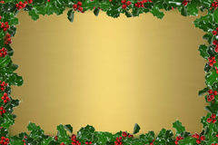 Holly Frame. Holly leaves and berries frame a golden background. Room for copy royalty free stock photo