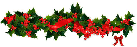 Holly garland Royalty Free Stock Photos
