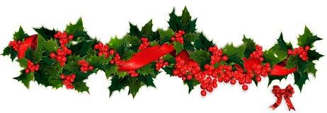 Holly garland. Holly, berry and ribbon Christmas garland Royalty Free Stock Photos