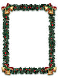 Holly Garland Border. With gold bells on a white background with letter sized aspect ratio Royalty Free Stock Photos