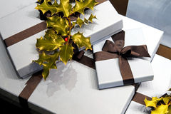 Holly gifts Royalty Free Stock Photography