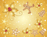 Holly and gingerbread. An illustration of a christmas greeting card with golden holly and fancy festive gingerbread on a snowy background Royalty Free Stock Photos