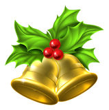 Holly Gold Bell Christmas Design Stock Photography