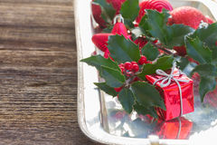 Holly  green leaves and red berries Royalty Free Stock Image
