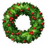 Holly Holiday Wreath Stock Photography