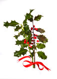 Holly (Ilex) - isolated on white. Two branches of real holly, with red berries, tied with a red ribbon and isolated on a white background Stock Photo